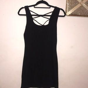 Plain black mini dress
